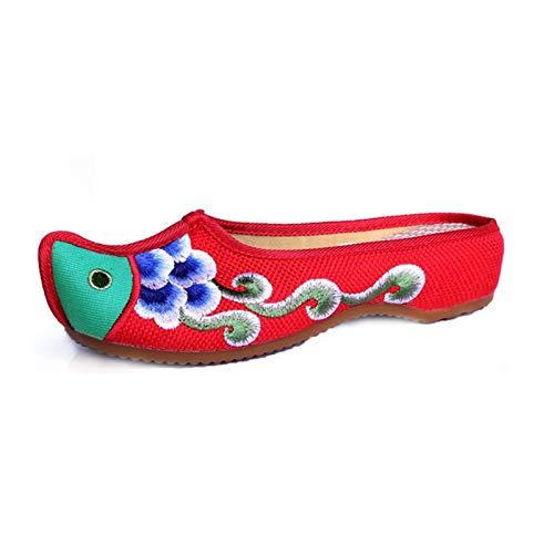YXCKG Hausschuhe Schuhe Traditionelle Chinesische Frauen Ethnischen Stil Oxford Flower Bestickte Schuhe, Fischkopf-Modesandalen, Haushalts Leinwand Hausschuhe, Geschenk Für Mädchen Frauen
