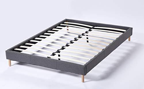 Lit futon Double avec sommier et Pieds Bois, revêtement en Tissu Gris (140_x_190_cm)