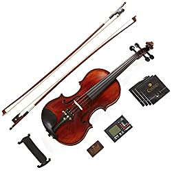 Mendini 4/4 MV500+92D Flamed Violin - Best Medini Violins