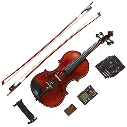 Mendini By Cecilio Violin - MV500+92D - Size 4/4 (Full Size), Black Solid Wood - Flamed, 1-Piece Violins w/Case, Tuner, Shoulder Rest, Bow, Rosin, Bridge & Strings - Adult, Kids