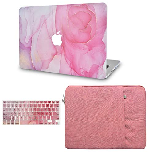 LuvCase 3 in 1 Laptop Case for MacBookPro 13' (2020) with Touch Bar A2338 M1/A2251/A2289 Hard Shell Cover, Sleeve & Keyboard Cover (Rose Marble)