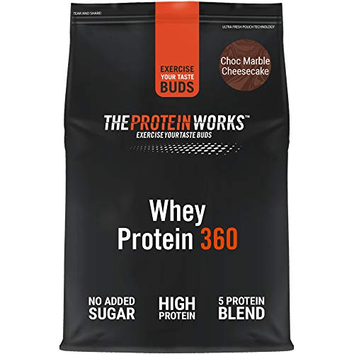 THE PROTEIN WORKS Whey Protein 360 Powder | High Protein Shake | No Added Sugar and Low Fat | Protein Blend | Choc Marble Cheesecake | 600 g