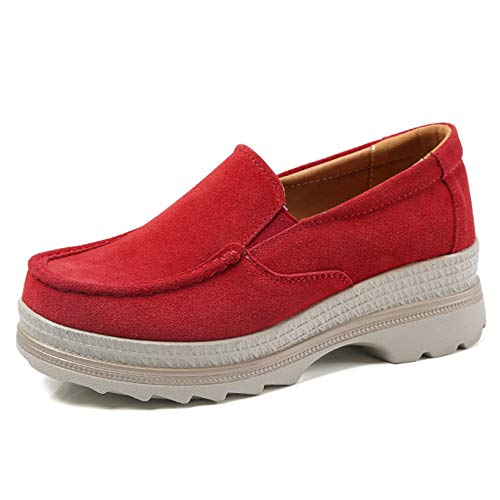 Zapatos de tacón de cuña Resbalón en Transpirable para Mujer Plataforma Diaria Primavera Verano Zapatos Gruesos Mocasín de Punta Redonda
