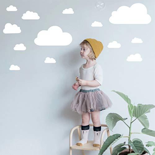 greenluup Wandsticker Wandtattoos Wolken Wolkenset Weiß Kinderzimmer Mädchen Jungen Babyzimmer (w38)