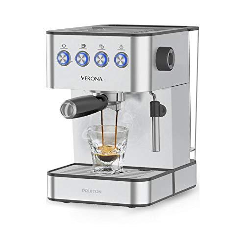 PRIXTON - Cafetera Express/Cafetera Automatica con 20 Bares, Potencia 850W, Portafiltro de Doble Salida para 2 Cafés y Vaporizador Integrado para Calentar y Espuma, Acero Inoxidable   Verona