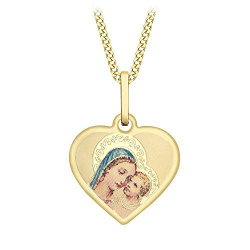 Carissima Gold Halskette 9 Karat (375) Gelbgold Madonna mit Kind Herz Panzerkette 46 cm/18