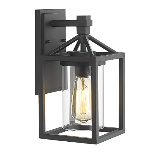 Zeyu Outdoor Wall Sconce, Exterior Wall Lantern Light Fixture for Front Door Patio, Black Finish with Clear Glass Shade, ZY03-W BK
