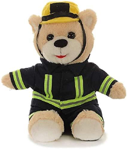 Teddybär Stofftier Feuerwehrmann mit Kleidung   Teddy Bear Plüschtier 27 cm Groß   Kuscheltier weich flauschig süß sitzend   Plüschbär waschbar   Schmusetier Geschenke-Ideen für Kinder   Feuerwehr Bär