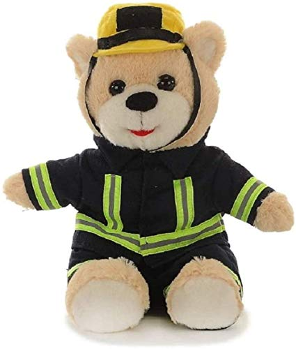 Teddybär Stofftier Feuerwehrmann mit Kleidung | Teddy Bear Plüschtier 27 cm Groß | Kuscheltier weich flauschig süß sitzend | Plüschbär waschbar | Schmusetier Geschenke-Ideen für Kinder | Feuerwehr Bär