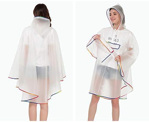 NLNL Impermeable Nueva Calidad de Moda Impermeable plástico Reutilizable Eva Mujeres Capa de Lluvia Impermeable Hombres Poncho con Capucha para Senderismo Montar-Estilo: 1_Talla única