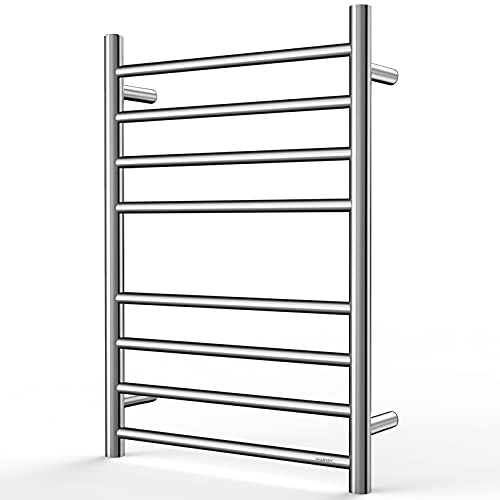 SHARNDY Towel Warmer Polished Chrome for Bathroom Wall Mounted Drying Rack Plug-in Electric Heated Towel Rack Stainless Steel Round 8 Bars Bath Towel Heater ETW44-2 70W 27.56x19.69x4.41 inches