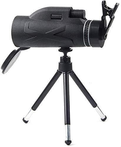 HEZHANG Telescopio monocular, 80 x 100 de alta potencia y amplificadores; monocular HD con prisma Bak4, clip simple para teléfono móvil + soporte telescópico de aleación de aluminio