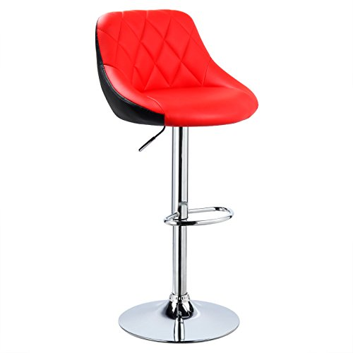 WOLTU® 1x Barhocker Barstuhl Tresenhocker Bistrohocker mit Griff, Design Stuhl, höhenverstellbar, frei drehbar, Sitzfläche aus Kunstleder, Gestell aus verchromtem Stahl, 2 farbig, Rot+Schwarz BH30rt-1
