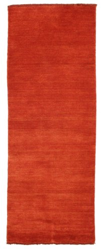 CarpetVista Alfombra Handloom Fringes, Pelo Corto, 80 x 200 cm, Pasillo, Moderna, Lana, Corredor, Cocina, Salón, Comedor, Rojo