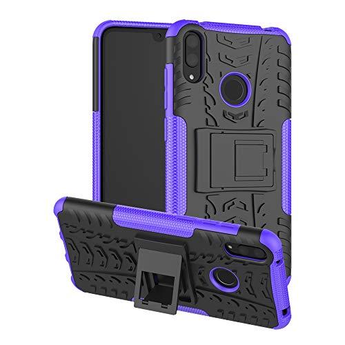 Dmtrab Phone Case para Huawei Y7 Pro (2019) / Disfrute de 9 Casos, TPU TPU + PC Funda Protectora a Prueba de Golpes con Titular Tapa de Paquetes (Color : Purple)