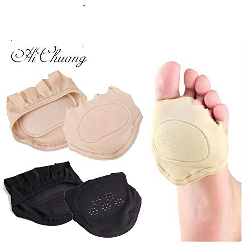 Super Soft Cotton Plus Silicone Five-Finger Front Palm Invisible Socks Front Palm pad to Protect The Toe and Foot Against wear, Foot Pain pad 2 Pairs