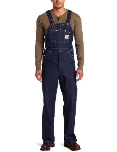 Carhartt Men's Denim Bib Overalls Unlined R08,Denim,44 x 30