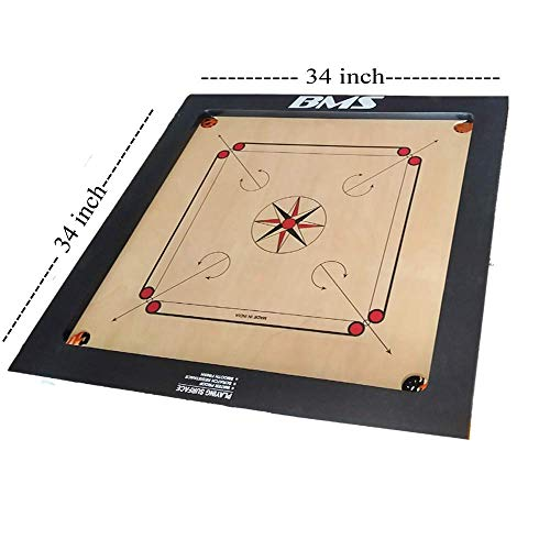 Precise Carrom Board Game Board Champion Bulldog Jumbo English Ply Wood Board with Coin & Striker, Approved by AICF & ICF, Official Board for International Carrom World Cup(Jumbo, 32mm)