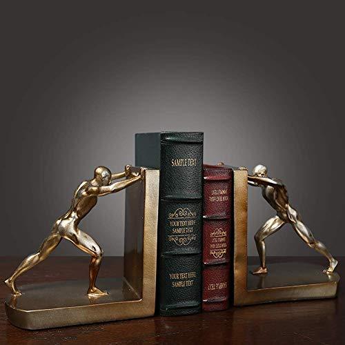 Wsjfc Herkules Statuen Büro Ornamente Harzfiguren, Moderne Bücherstopper Geschenke für Studenten Bibliothek nach Hause, kreative Tischdecke Buchstütze Dekor golden 2-teilig