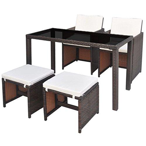 vidaXL Gartenmöbel 5-TLG. mit Auflagen Gartenset Sitzgruppe Sitzgarnitur Gartengarnitur Gartentisch Tisch Esstisch Stühle Poly Rattan Braun
