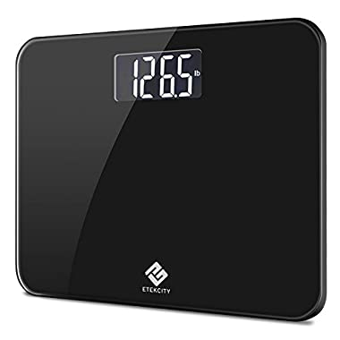 Etekcity Digital Body Weight Bathroom Scale with Step-On Technology, 440 Pounds, Body Tape Measure Included (Black) EB441OB