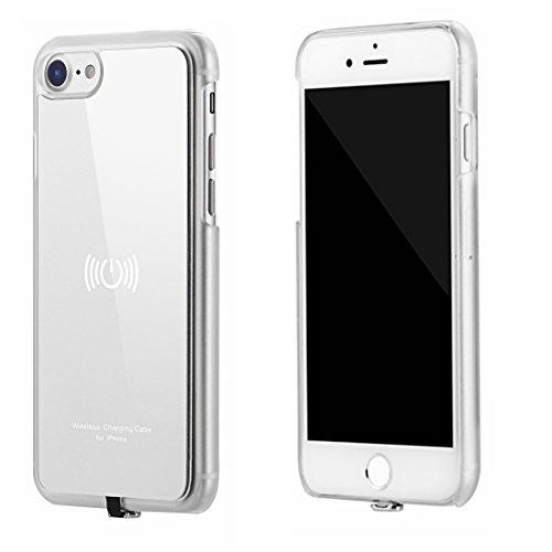 hanende Receptor Inalámbrico Compatible con iPhone 7, Qi Inalámbrico Carga Caso con Flexible Conector Lightning (Plata)