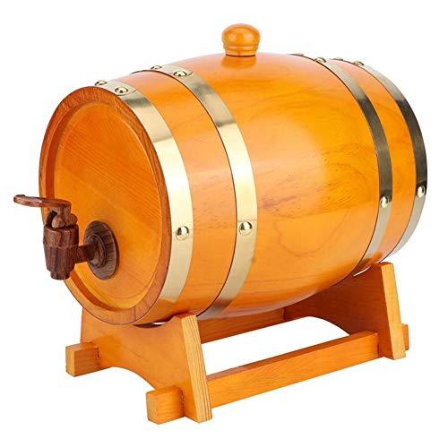 Cakunmik 3 Liter Bier Barrel Jahrgang Pine Barrel Weinspender Lagerung von Whiskey Essig Bier