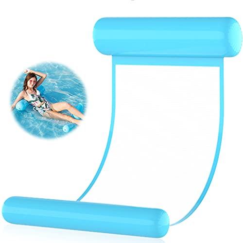 Aufblasbare Wasserhängematte,Luftmatratze Schwimmbett,Pool Lounge luftmatratze,4 in 1 Wasser-Hängematt,Inflatable Swimming Bed,Pool Hammock,Pool Aufblasbare Hängematte für Erwachsene Kinder(Blau)