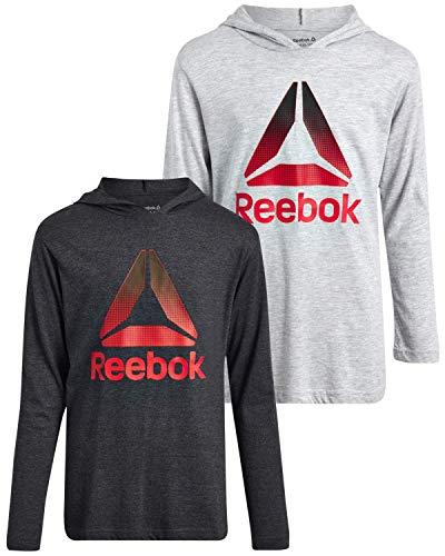 Reebok Juego de camiseta y sudadera de manga larga para niños con capucha, 2 piezas, color carbón, gris jaspeado, talla XL (18/20))