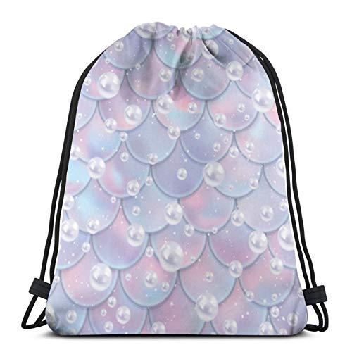 Tienda asequible Escalas de pescado y perlas sin costuras patrón sirena cordón mochila deporte bolsas cinch bolsas para viajar y almacenamiento para hombres y mujeres 45 x 14 pulgadas
