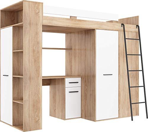 FurnitureByJDM Hochbett mit Schreibtisch, Kleiderschrank und Bücherregal - Verana R - (Eiche Sonoma/Weiß)
