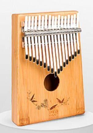 SFFSM Enya 17 Teclas Kalimba con la Bolsa de Caoba sólida de Palo de Rosa de bambú Pulgar Piano Mbira Calimba Instrumentos Musicales (Color : Bamboo)