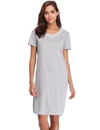 Hawiton Damen Nachthemd Kurz Baumwolle Spitze Nachtwäsche Nachtkleid Negligee Sleepshirt Kurzarm für Sommer Grau L