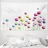 ABAKUHAUS Blumen Wandteppich & Tagesdecke, Amaranth Blumenmuster, aus Weiches Mikrofaser Stoff Wand Dekoration Für Schlafzimmer, 230 x 140 cm, Mehrfarbig