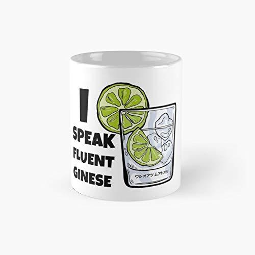 Taza clásica con texto en inglés 'I Speak Fluent Ginese Alcohol Humor | El mejor regalo divertidas tazas de café de 11 oz