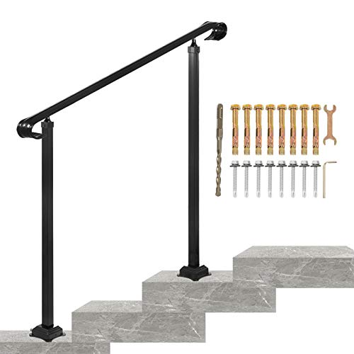 VEVOR Wrought Iron Handrail, Fit 2 or 3 Steps Outdoor Stair Railing, Adjustable Front Porch Hand Rail, Black Transitional Hand railings for Concrete Steps or Wooden Stairs with Installation Kit