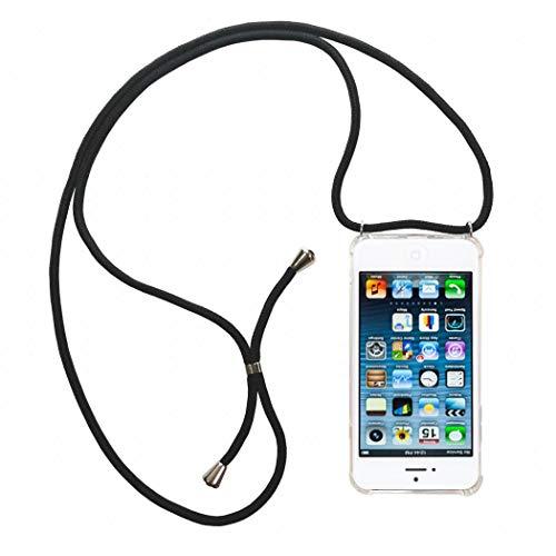 jbTec Handy Hülle mit Band zum Umhängen Klar passend für Apple iPhone 5c - Kette Schnur Kordel Case Necklace Tasche, Handyband:Schwarz