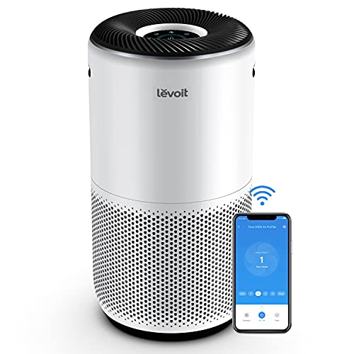 LEVOIT Purificador de Aire Inteligente WiFi con Filtro HEPA H13, CADR 400m³/h, Hasta 83m² con Sensor PM2.5, Compatible con Alexa, Elimina 99,97% de Alergia Humo Polen Ácaros Pelo de Mascota Co