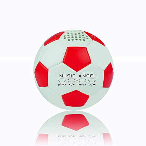 Original Music Angel JH-ZQBT3 Stereo Mini Football Creative Roly-Poly Super Bass Hi-Fi Wireless Bluetooth Speakers Support Micro SD Card/TF Line-in Mp3 Player Best Birthday Gift (Red)