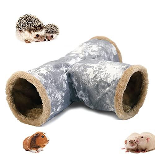 LeerKing Meerschweinchen Kuscheltunnel 3 Röhren Spieltunnel Leinwand Faltbar Innen Plüsch Tunnel Käfig zubehör mit Haken für Frettchen Degus Chinchillas Hamster Rennmaus Igel Nager Grau