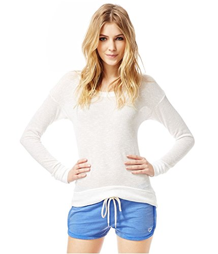 Aeropostale Womens Knit Hi-Lo Pullover Sweater, White, Medium