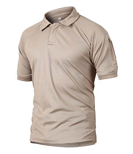 CRYSULLY Herren Military Kurzarm Hemd Cargo Tactical Pullover Outdoor T-Shirt Army Combat Polo Shirts - Braun - Mittel