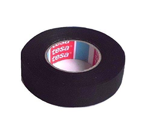 tesa Gewebeband PET-Vlies 51608 Isolierband für Kabelbäume Baumwolle Klebeband, (19mm x 15m) schwarz