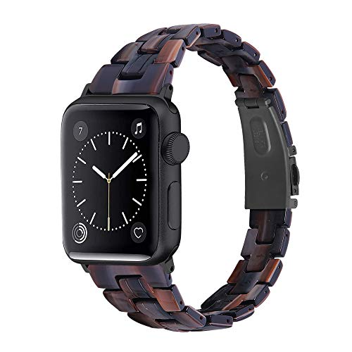 CHENPENG Correa Compatible con Apple Watch Series 6/5/4/3/2/1, Pulsera Delgada de Resina, Correa de Repuesto para Reloj, con Hebilla de Acero Inoxidable, para Mujeres y Hombres,4,38mm
