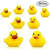 aovowog Juguetes para Baño Mini Pato Amarillo de Goma Juguete de Beñera para Bebé y Niñas [Pack 50]