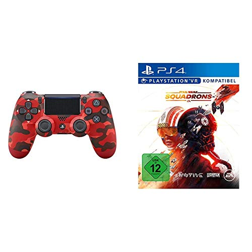PlayStation 4 - DualShock 4 Wireless Controller, Rot Camouflage (exklusiv bei Amazon) + STAR WARS SQUADRONS (VR-fähig) - [Playstation 4]
