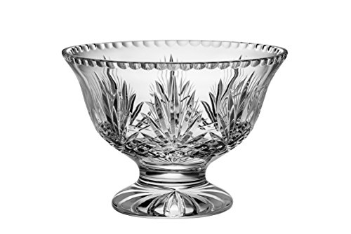 "Majestic Gifts Hand Cut Crystal Footed Bowl 10"", Large, Clear"