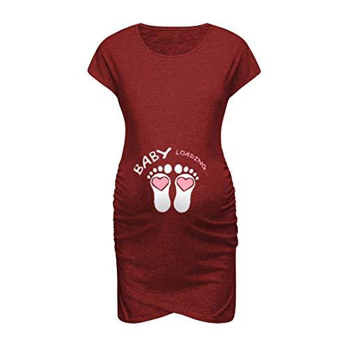 Damen Umstandskleid,Ulanda-EU Frauen Sommerkleid Einfarbig Maternity Kleid Schwangere Baby Loading Stretchkleid Umstandsmode Nachtwäsche Umstands Kleid