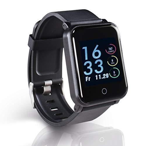 Hama Fitness-Armband, wasserdicht mit GPS, Pulsmesser, 22 Sportarten (Fitness-Uhr mit Kalorienzähler, Schrittzähler, Schlafmonitor, Fitness Tracker mit App, Vibration, Trinkerinnerung) schwarz