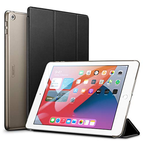 ESR iPad 8 ケース 2020 iPad 10.2 ケース 第7世代 2019 半透明 薄型 軽量 傷防止 オートスリープ ウェイク 三つ折りスタンド スマートケース iPad 10.2インチ ハードカバー ブラック